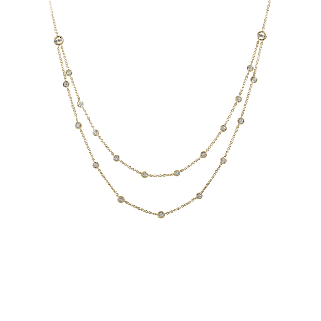 14k gold double strand diamond bezel necklace