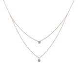 14k gold double bezel diamond drop necklace