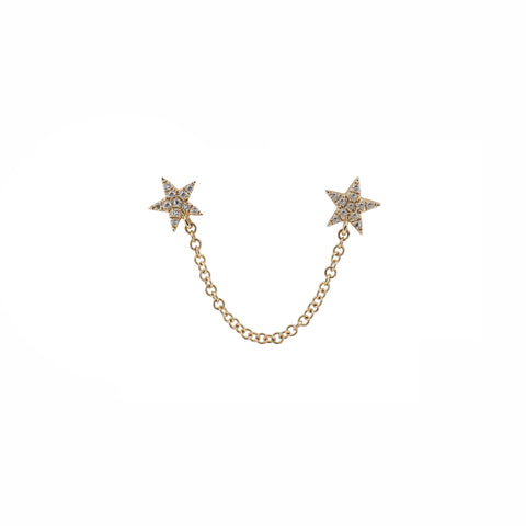 14k gold diamond double star stud with chain