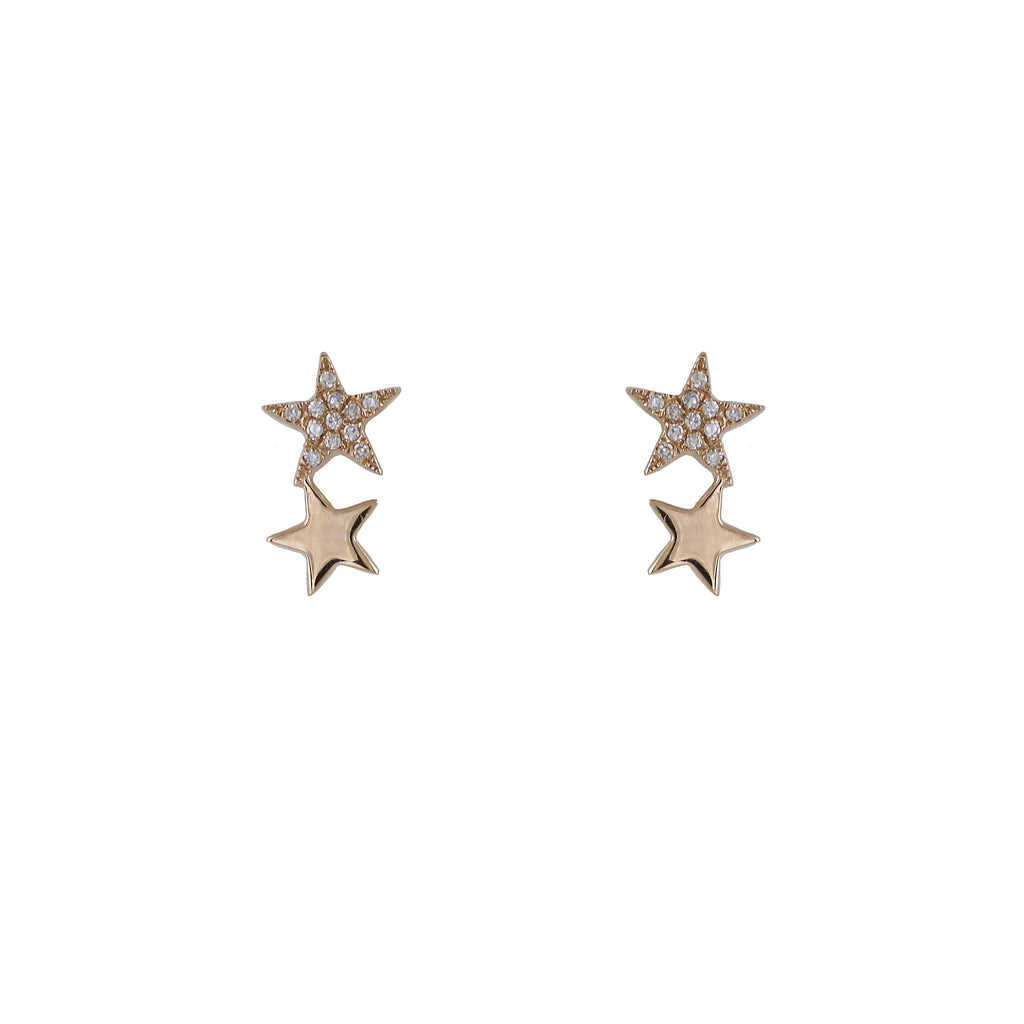 14k gold diamond double star crawler