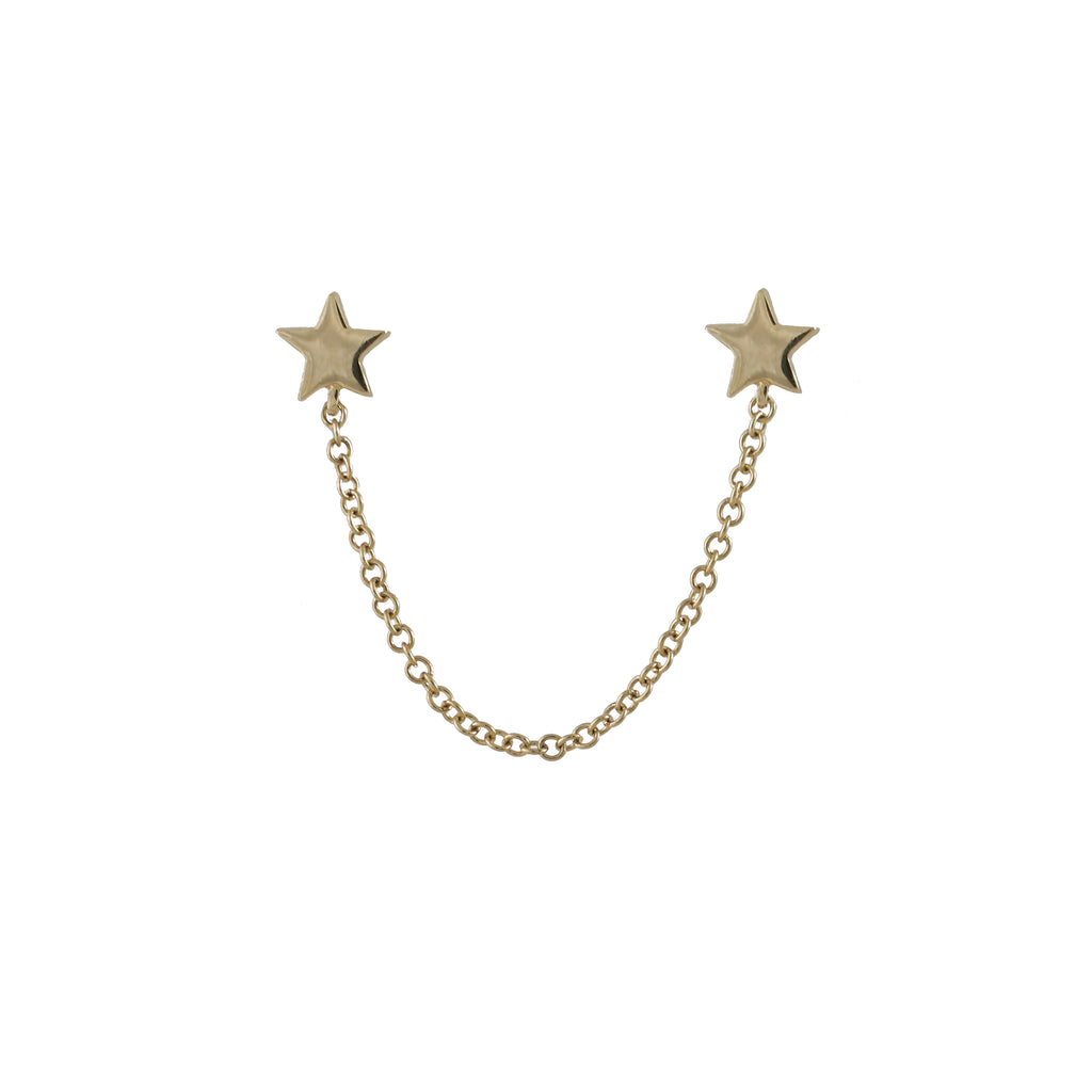 14k gold double star with chain