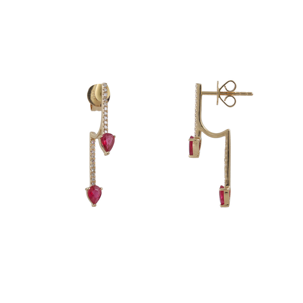 14k gold diamond stick with ruby stick drop