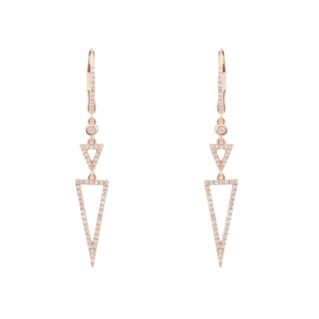 14k gold diamond triangle drop earrings