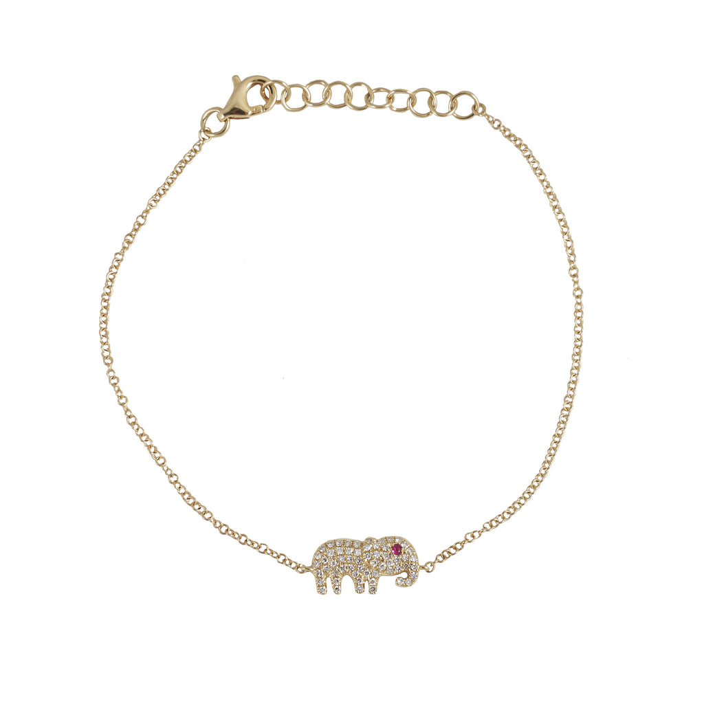 14k gold diamond elephant bracelet