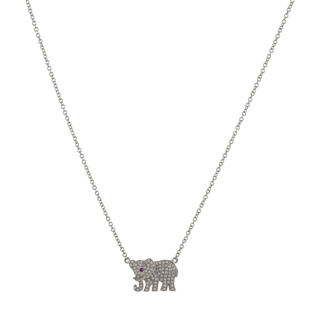 14k gold diamond elephant necklace