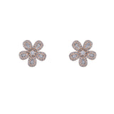 14k gold diamond baguette daisy earrings