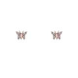 14k gold and diamond butterfly studs