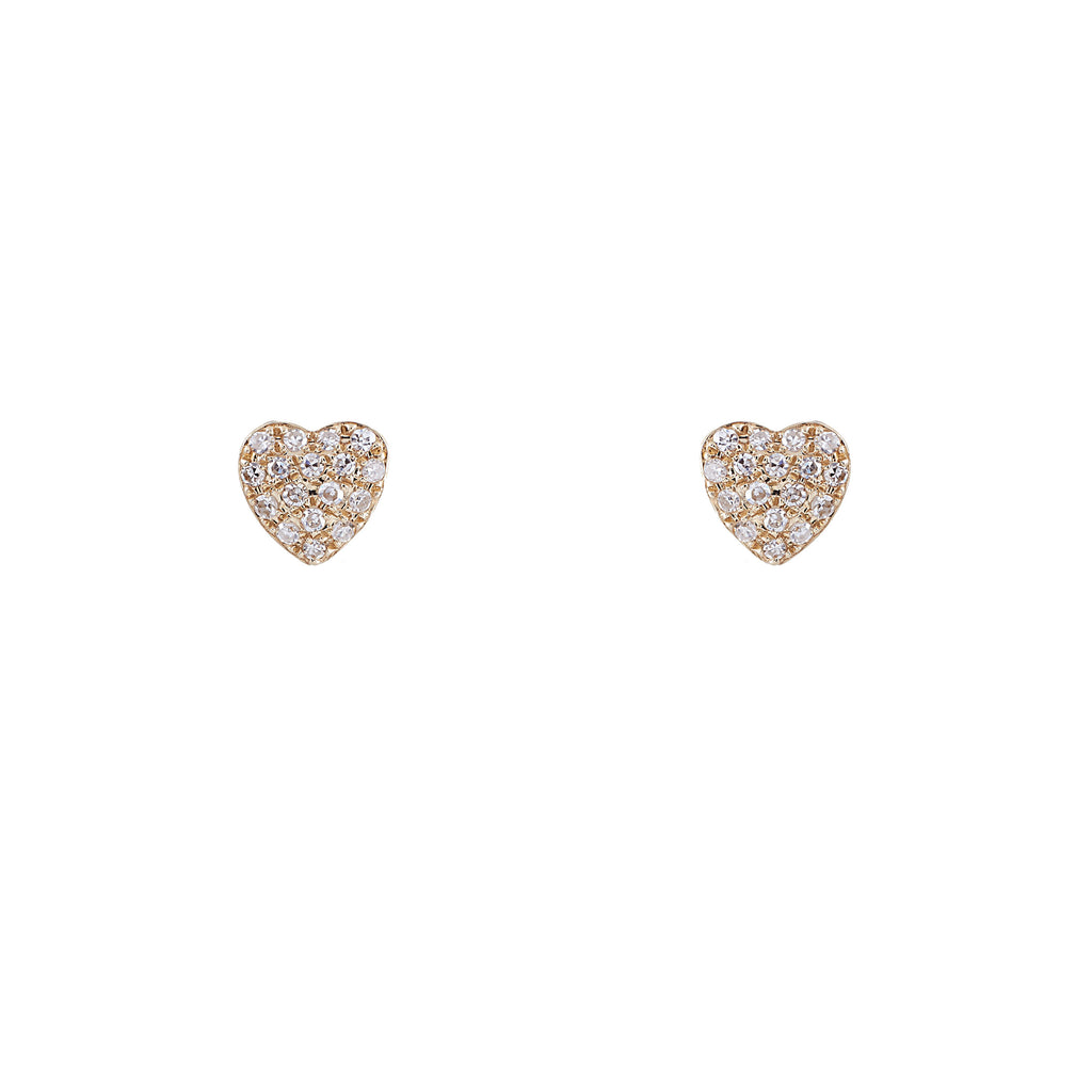 14k gold and diamond bubble heart studs