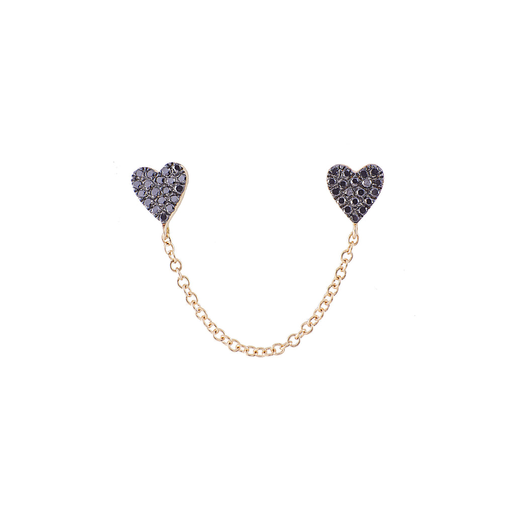 14k gold black diamond double heart with chain studs