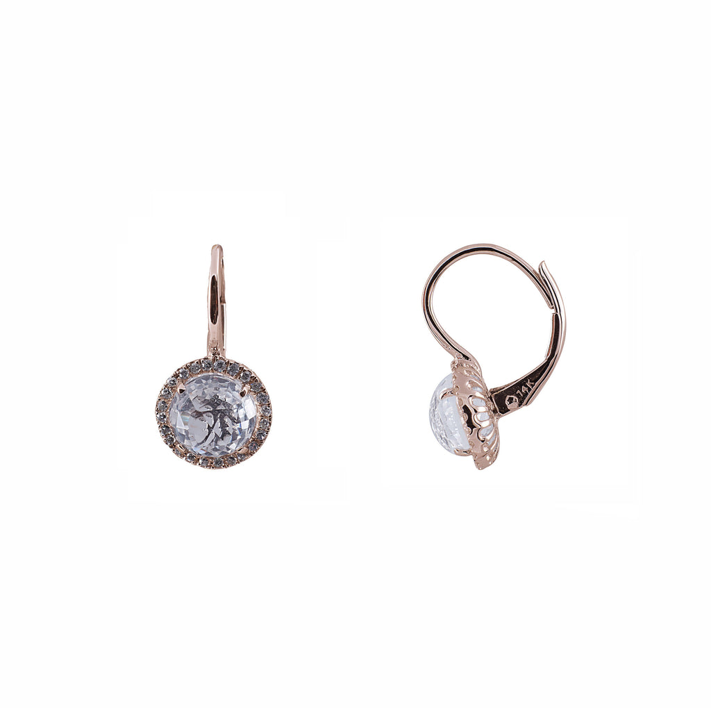 14k gold diamond and topaz round drop earring