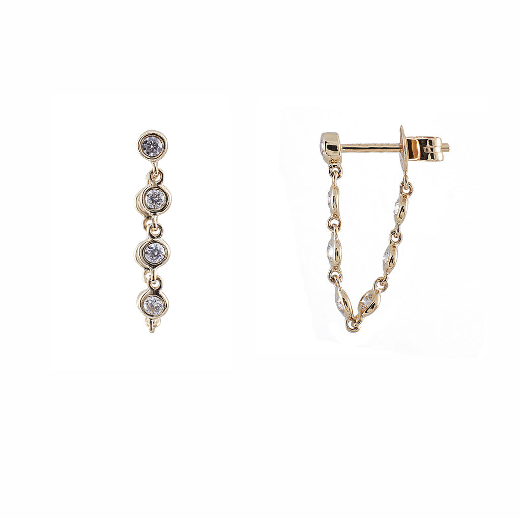 14k gold bezel set chain drop post earring