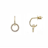 14k gold diamond circle post huggie earring