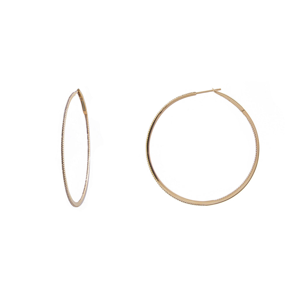 "14k gold 2"" diamond hoops"