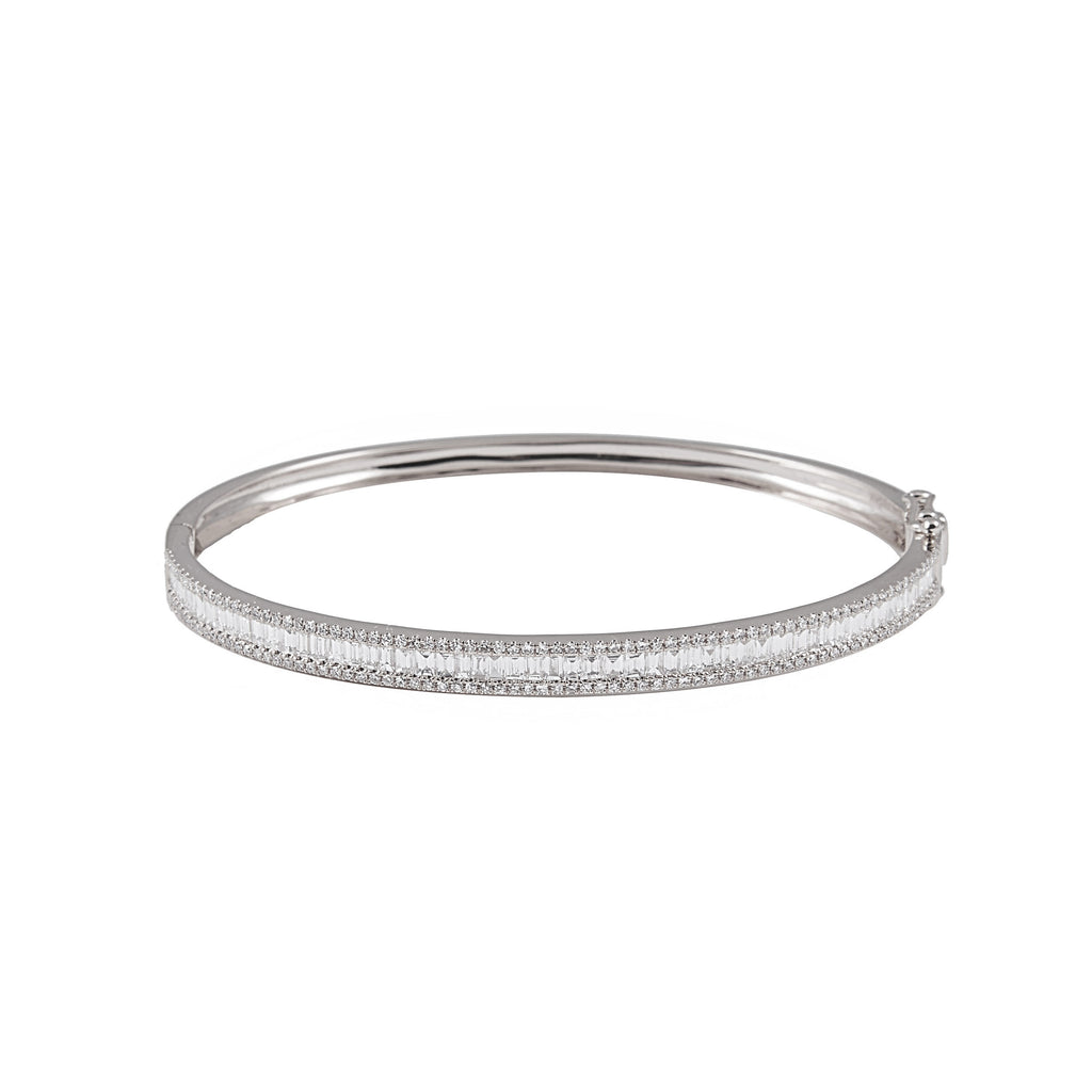 14k gold diamond baguette bangle