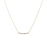 14k gold rainbow curved bar necklace