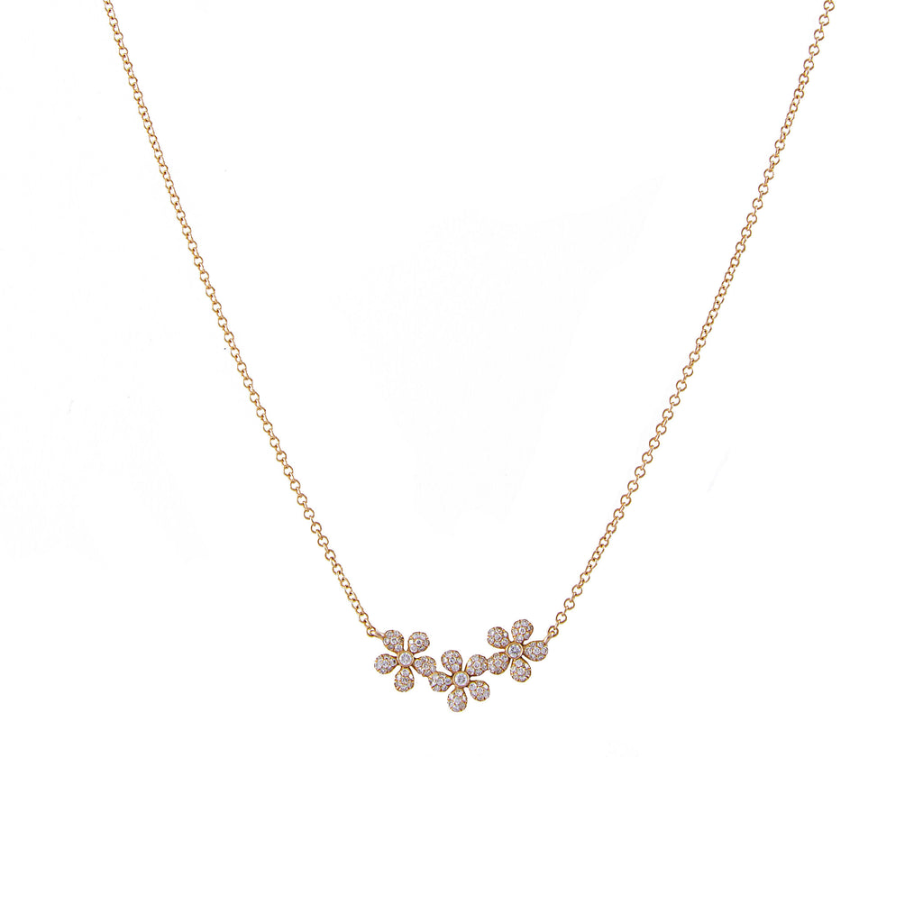 14k gold diamond triple daisy necklace