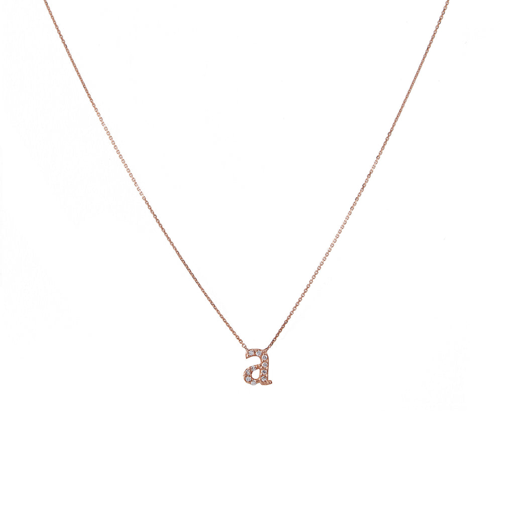 14k gold diamond lower case initial necklace