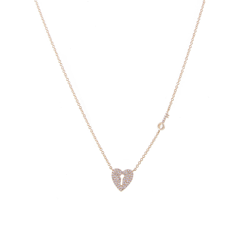 14k gold diamond heart and key necklace