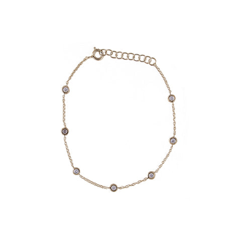 14k gold scattered diamond bezel bracelet