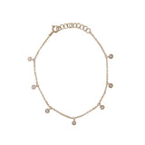 14k gold diamond bezel dangle bracelet
