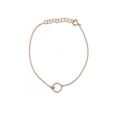 14k gold diamond open circle bracelet