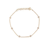 14k gold baby diamond disk bracelet