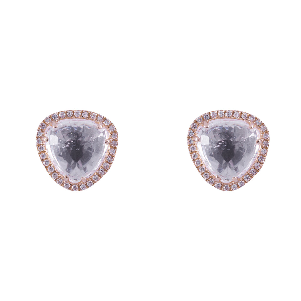 14k gold diamond and white topaz soft triangle studs