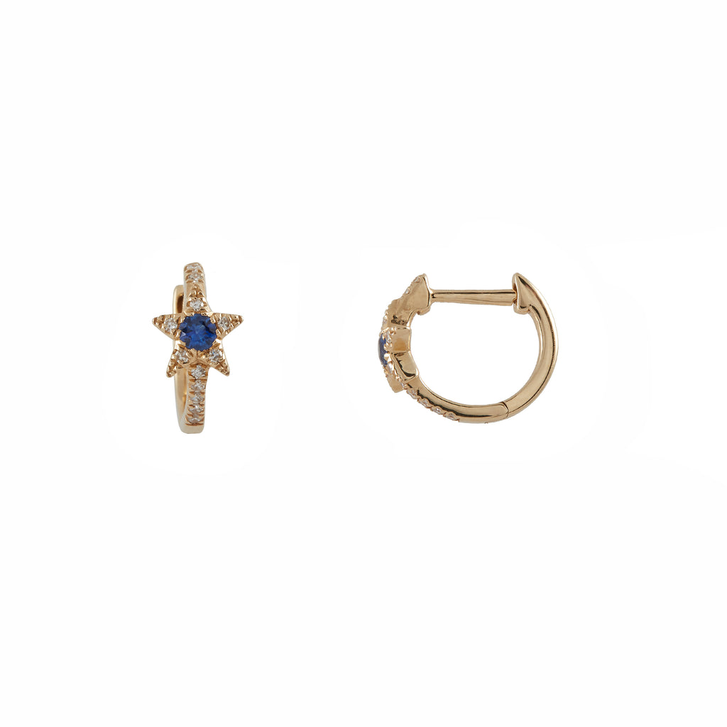 14k gold diamond blue sapphire baby star huggies