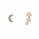 14k gold diamond moon star earring