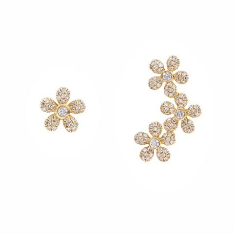 14k gold diamond daisy crawler and daisy stud