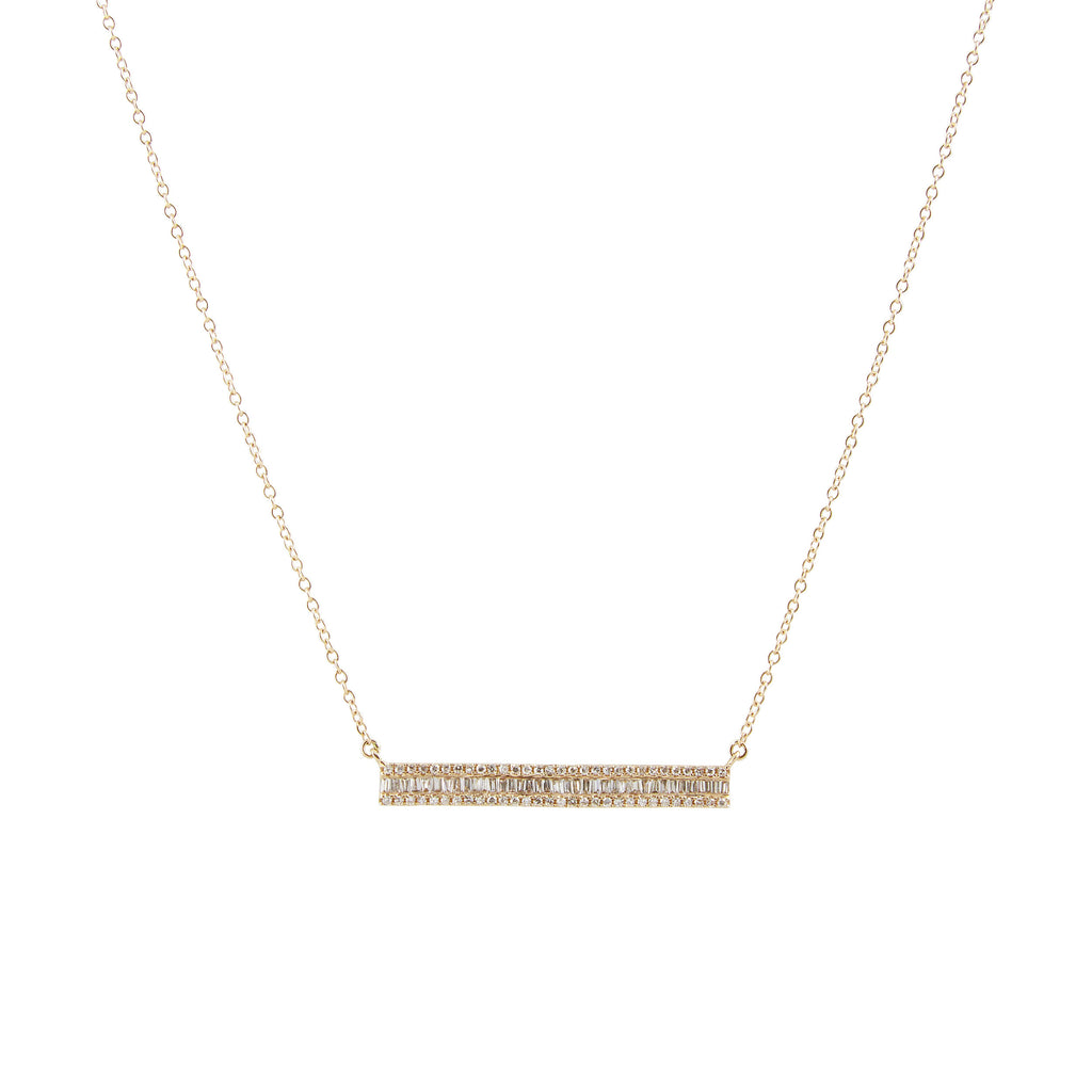 14k gold and diamond baguette bar necklace