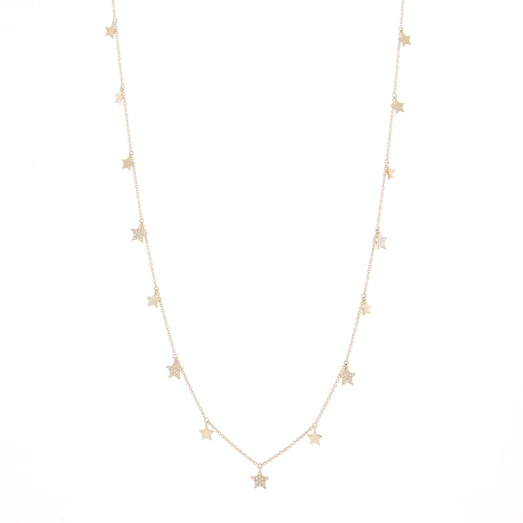 14k gold diamond star dangle necklace