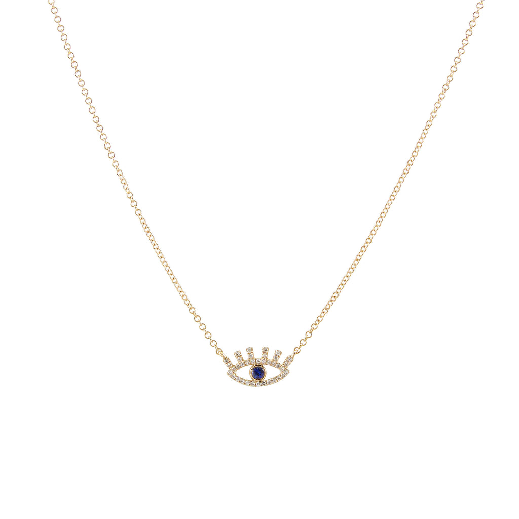 14k gold diamond and sapphire evil eye with eyelashes necklace