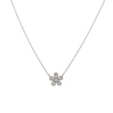 14k gold diamond and baguette daisy necklace
