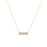 14k gold diamond thick bar necklace with jumprings