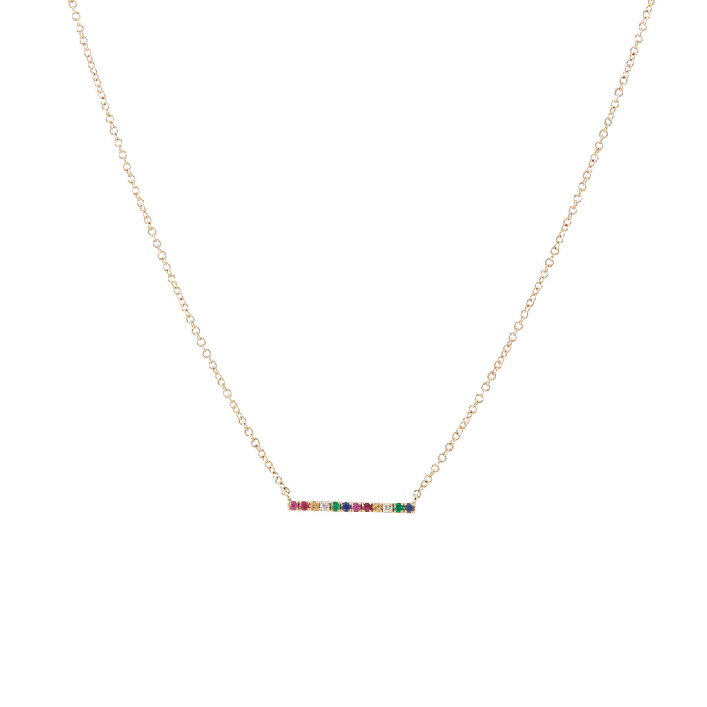 14k gold rainbow diamond bar necklace