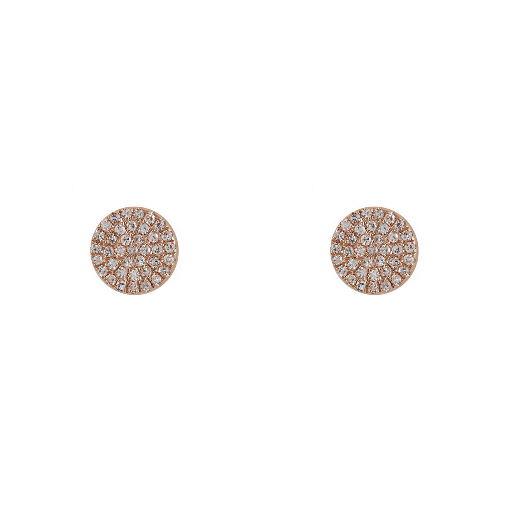 14k gold diamond medium flat disks
