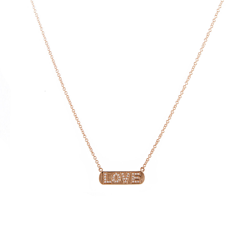 14k gold diamond LOVE necklace