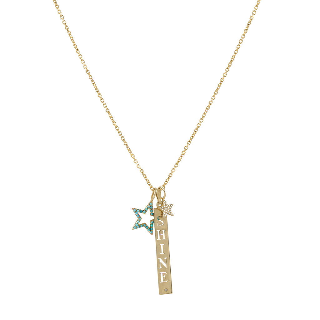 14k yellow gold diamond and turq SHINE necklace