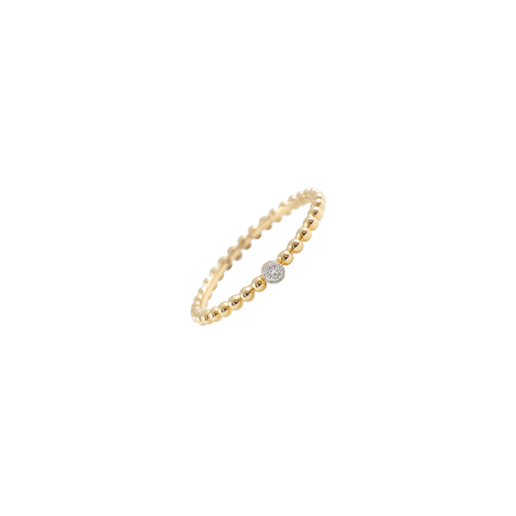 14k gold shot bead bitty diamond band