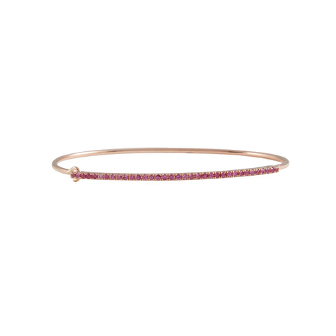 14k gold diamond and pink sapphire bangle with closure