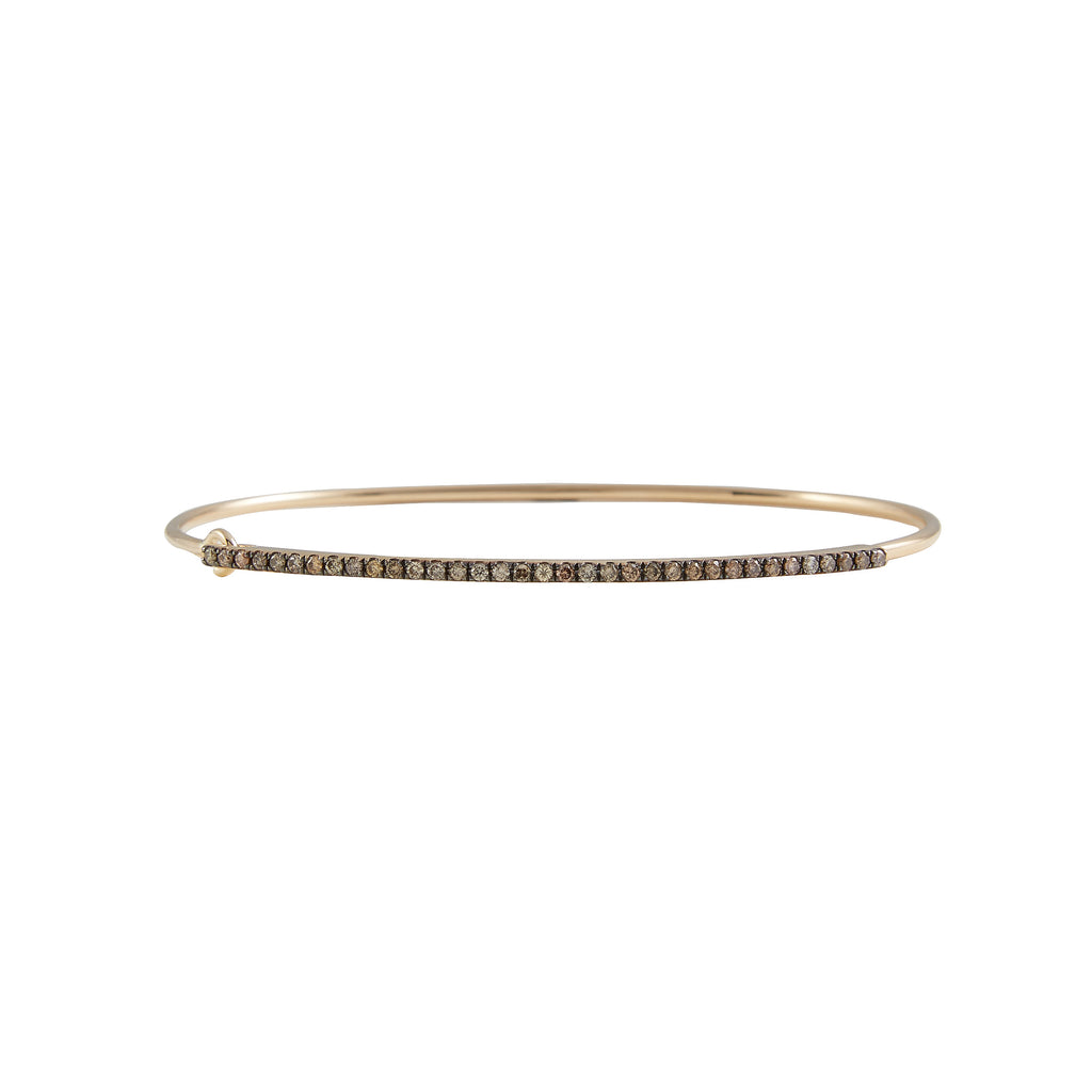 14k gold champagne diamond bangle with closure