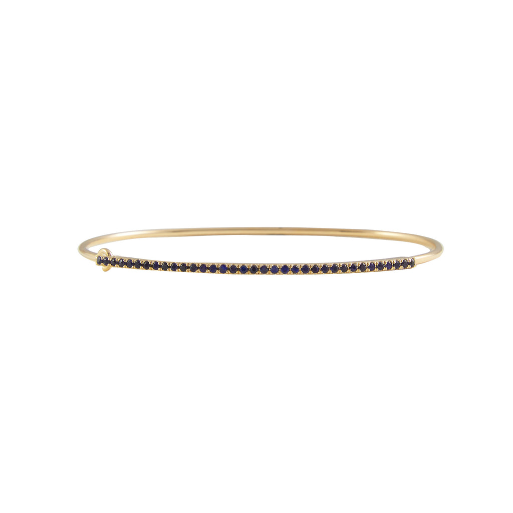 14k gold diamond and blue sapphire bangle with closure