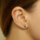 14k gold diamond and emerald pear shape studs