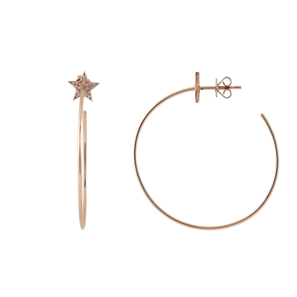 14k gold diamond star hoops