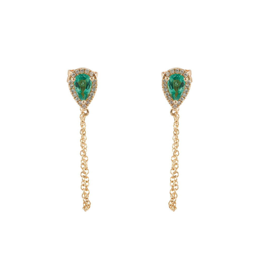 14k gold diamond and emerald chain drop earrings