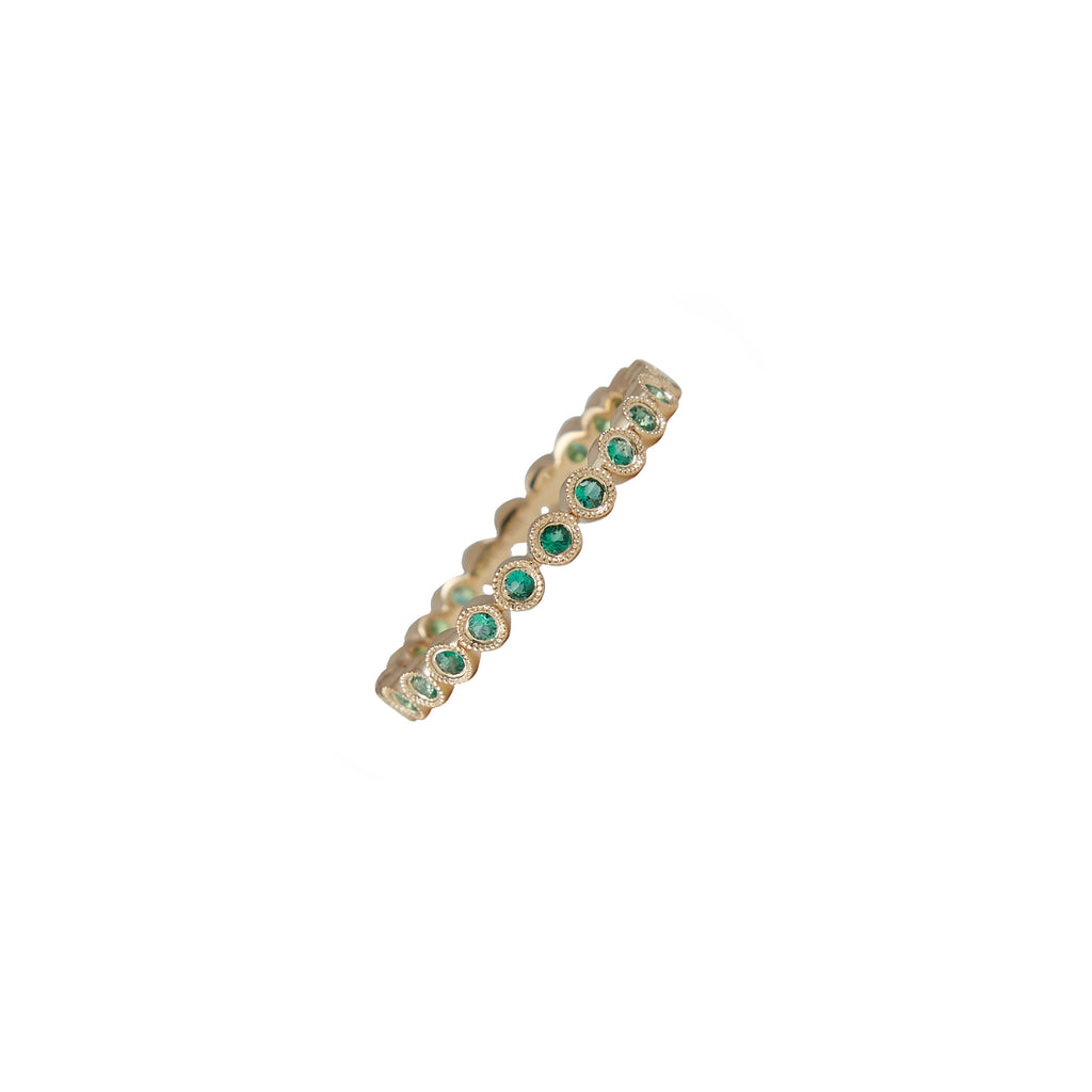 14k gold emerald bezel band