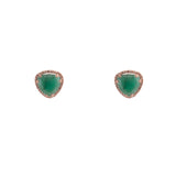 14k gold emerald and diamond soft triangle posts