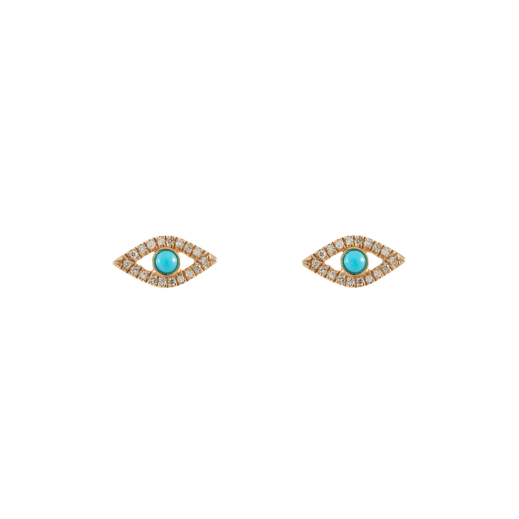14k gold diamond turq evil eye posts