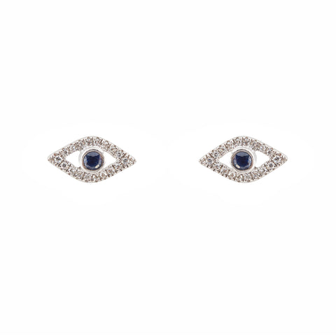 14k gold diamond and sapphire evil eye earrings